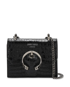 Mini Paris Croc Embossed Leather Bag