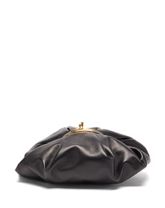 Pleated leather clutch bag
