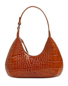 Baby Amber Croc Embossed Leather Bag
