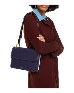 Woman Color-block Leather Shoulder Bag