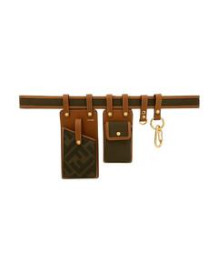 棕色&绿色多袋腰包