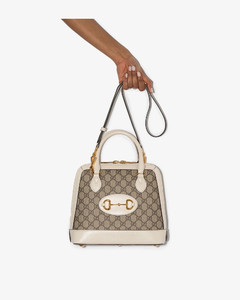 Beige and white 1955 Horsebit Small Leather Tote Bag