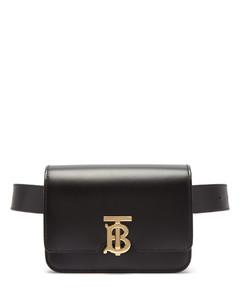 Monogram-clasp leather belt bag