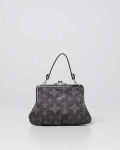 Handbag JOAN calfskin suede logo black