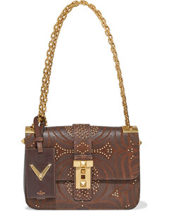 Garavani Woman Embellished Laser-cut Leather And Canvas Shoulder Bag