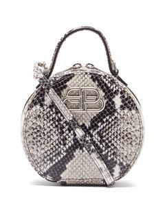 Vanity BB-logo python-effect leather clutch bag