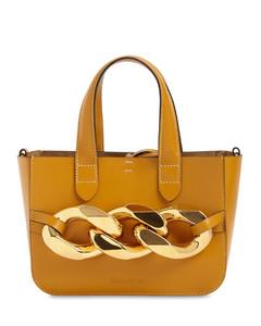 Mini Chain Grained Leather Tote Bag