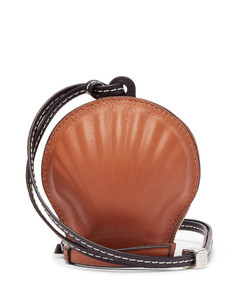 Anagram-debossed seashell leather coin purse