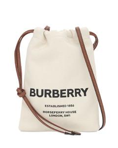 Logo Print Canvas Pouch Bag