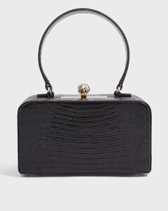 Luna Croc-Leather Box Clutch