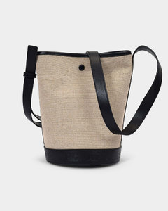 Helene Bag in Black Canvas and Shiny Leather