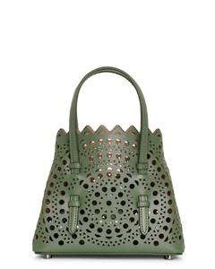 Mina 16 aloe green leather tote bag
