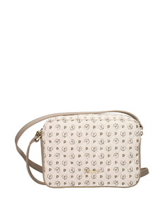 Madeline linen and leather cross-body bag