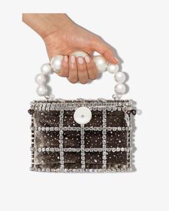 Womens Grey Holli Cometa Crystal Pearl Bag
