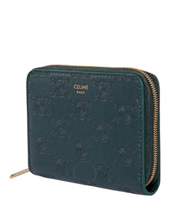 Ladies Embossed Smooth Calfskin Compact Wallet In Green