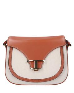 Handbag MINI Calfskin Canvas logo brown