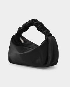 Baguette Bag Scrunchie Mini in Black Satin