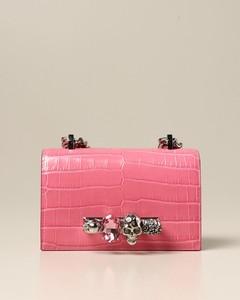 Jeweled Satchel bag in crocodile print leather