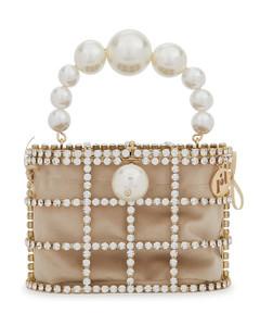 Holli crystal-embellished top handle bag