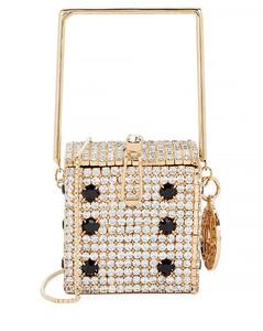 Dice Smorfia mini crystal-embellished box bag
