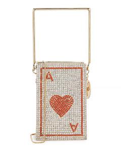 Poker mini crystal-embellished box bag