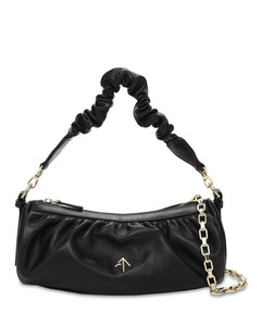 Ruched Cylinder Chain Soft Leather Bag