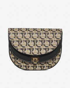 Gancini fabric and leather shoulder bag