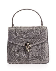 WOMEN'S 287942 SILVER LEATHER HANDBAG