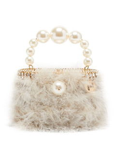 Nuvola faux-pearl handle marabou-feather bag