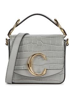 C mini grey leather cross-body bag