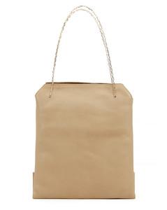 Taupe mini leather tote bag