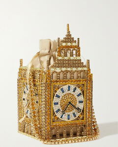 Big Ben London Crystal-embellished Gold-tone And Twill Tote