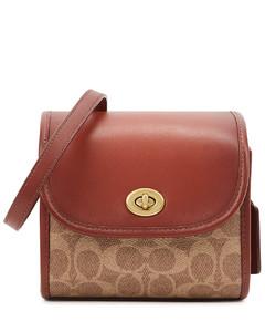 Turnlock rust leather top handle bag