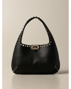 Rockstud Hobo bag in hammered leather