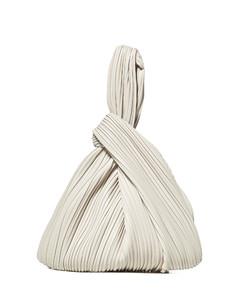 Chain-front mini leather tote bag