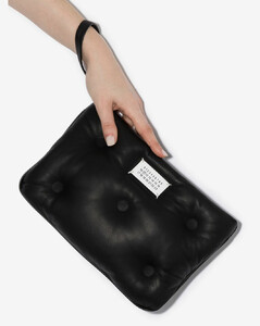 black Glam Slam padded leather clutch bag