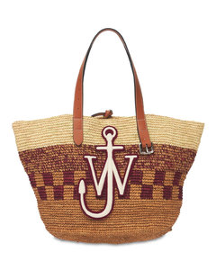 Embroidered Straw Tote Bag