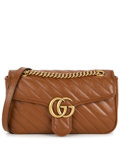 GG Marmont small brown leather shoulder bag