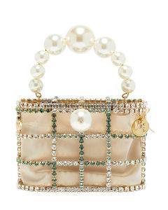 Holli crystal-embellished cage clutch bag