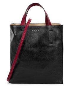 Tri-tone leather top handle bag