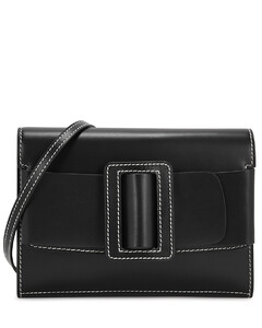 Buckle Big Stitch black leather cross-body bag