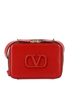 V sling leather bag