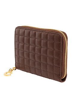 C Charmn Quilted Compact Zipped Wallet- Brown