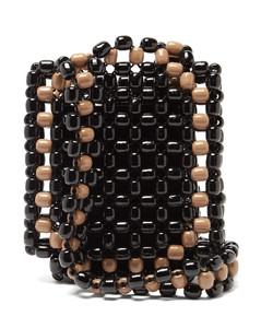 Bi-colour wooden-bead shoulder bag