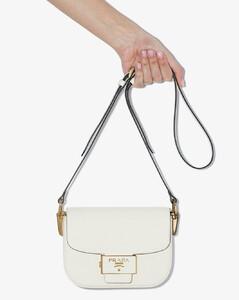 white Emblème leather cross body bag