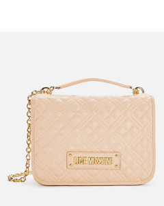 Women's Classic Quilted Shoulder Bag - Nude