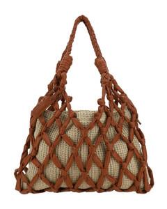Thela Mini Shopper Tan Brown Leather Cross Body Bag for Women