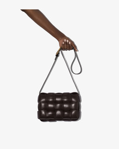 Brown Padded Cassette Leather Shoulder Bag