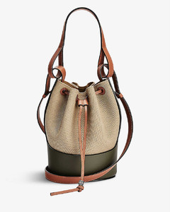 Balloon small leather and canvas shoulder bag