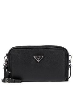 Nylon and leather crossbody bag